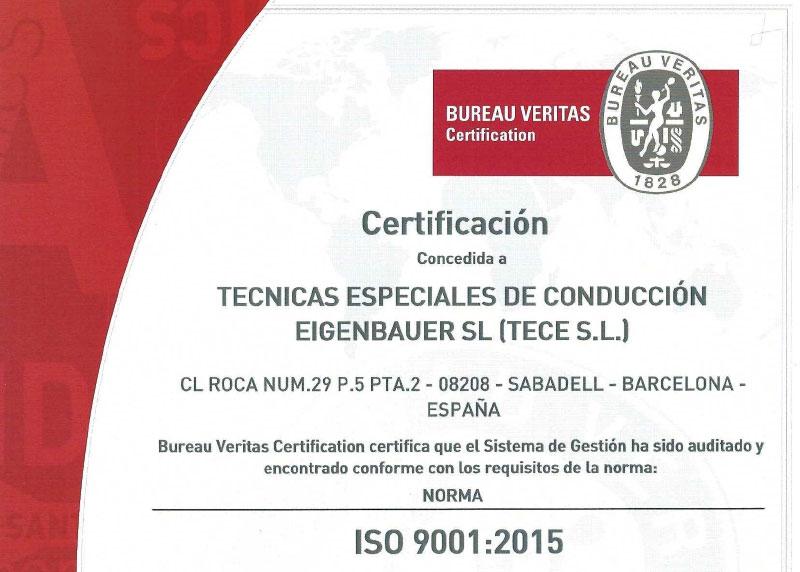 Certificación ISO 9001:2015 a TECE